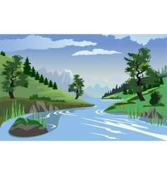 River flowing through hills vector