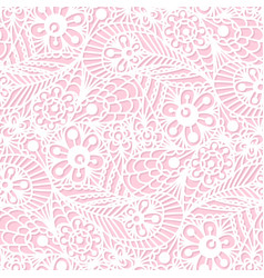 Seamless flower paisley lace pattern on pink vector