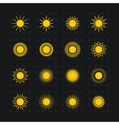Set of different images of the sun vector image vector image