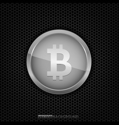 silver bitcoin coin vector image