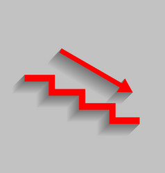 Stair down with arrow red icon with soft vector