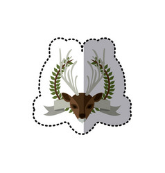 sticker crown leaves and label with moose animal vector image