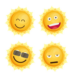 sun icon set flat vector image vector image