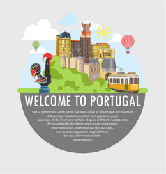 welcome to portugal travel tourism poster template vector image vector image