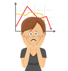Woman clutching head over chart going down vector