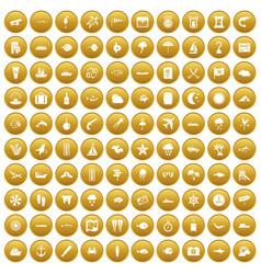 100 marine environment icons set gold vector