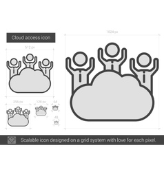Cloud access line icon vector