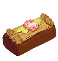Chocolate cake with floral decoration cream vector