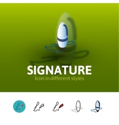 Signature icon in different style vector
