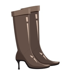 Brown high heel fashion boot icon cartoon style vector