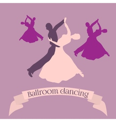 Couple dancing ballroom dance logo vector