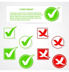 Check mark stickers and banner vector