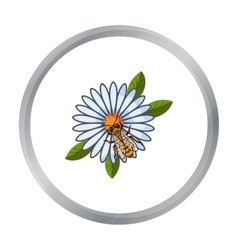 Bee on the flower icon in cartoon style isolated vector image