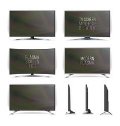 screen lcd plasma television set curved vector image