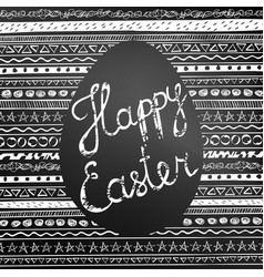 handwritten happy easter inscription on blackboard vector image
