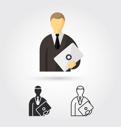 man standing with laptop vector image