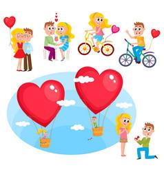 loving couple set - kissing dating proposal vector image