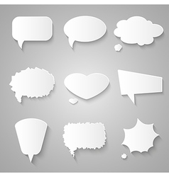 Set of paper speech bubbles with shadows vector