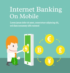 Internet banking on mobile cartoon business vector