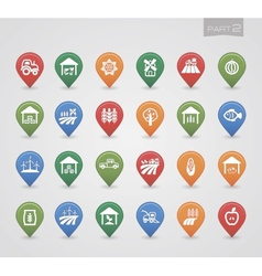 Mapping pins icons Farm part 2 vector image