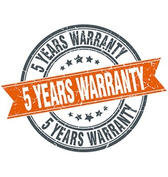 5 years warranty round orange grungy vintage vector