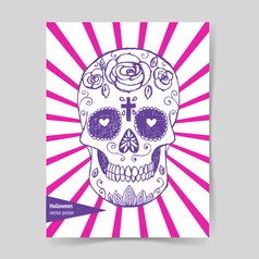Sketch mexican skull in vintage style vector