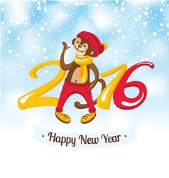 New year greeting card with cute monkey vector