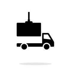 Truck loading simple icon on white background vector