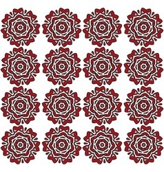 Red lace roses on the white backdrop pattern vector