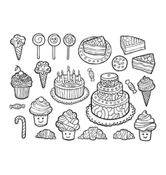 Set of cute monochrome sweets vector