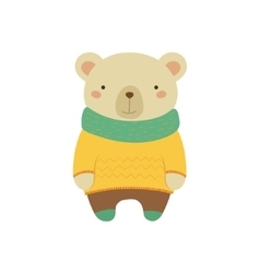 White bear in yellow sweater childish vector