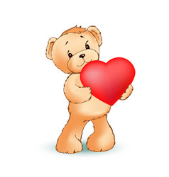 adorable fluffy teddy bear holds big red heart vector image