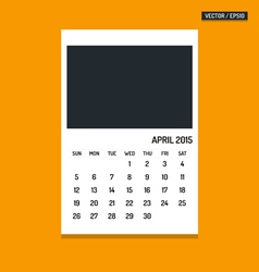 April 2015 calendar vector image vector image