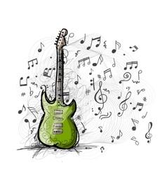Art sketch of guitar design vector image