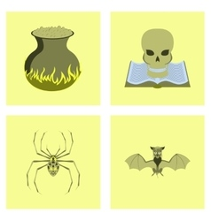 assembly flat halloween spider book vector image
