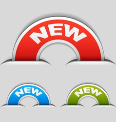 Attached new half circle labels vector