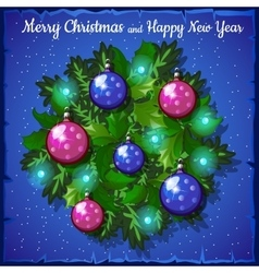 Balls fir Christmas wreath vector image
