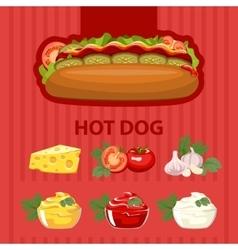 Big tasty hot dog vector