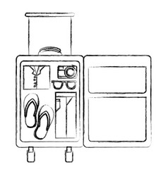 Blurred thick silhouette of opened suitcase of vector