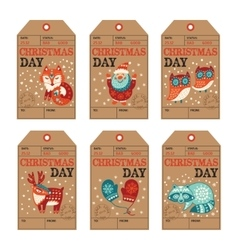 Christmas and New Year gift tags stickers labels vector image