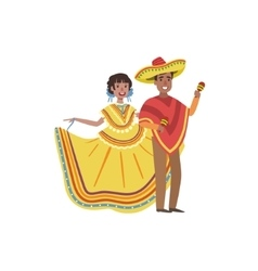 Couple In Mexican National Clothes vector image