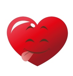 cute tongue out heart cartoon icon vector image