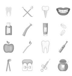 Dentist icons set monochrome style vector