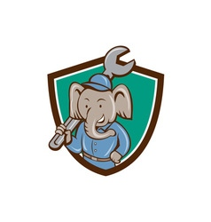 Elephant mechanic spanner shoulder crest cartoon vector
