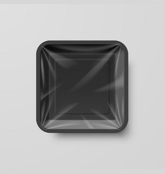 Empty black plastic food square container on gray vector