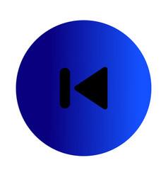 Flat black skip back icon vector