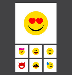 Flat icon emoji set of cheerful love winking and vector