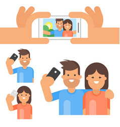 flat style set of happy man and woman vector image