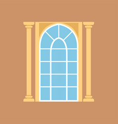 Flat window on brown wall decorated with columns vector