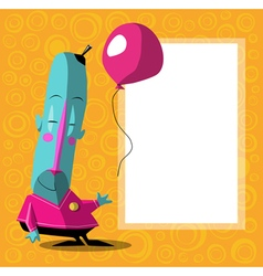 Happy blue cartoon character with balloon vector